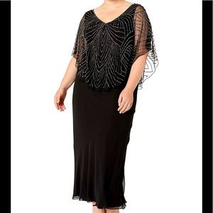 Formal Dress Plus Size 20W Jkara Capelet Beaded